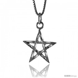 Sterling Silver 5-Point Star Pendant, 3/4 in Tall