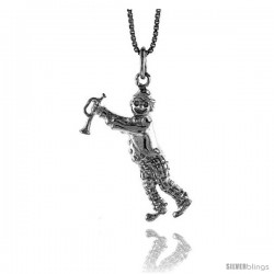 Sterling Silver Horn Player Clown Pendant, 1 1/16 in Tall
