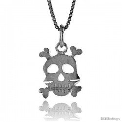 Sterling Silver Skull & Crossbones Pendant, 1/2 in Tall