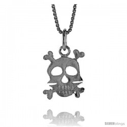Sterling Silver Skull & Crossbones Pendant, 1/2 in Tall -Style 4p847