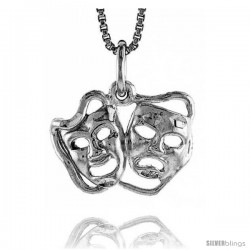 Sterling Silver Drama Mask Pendant, 1/2 in Tall