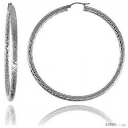 Surgical Steel Tube Hoop Earrings 2 3/4 in Round 4 mm wide Zigzag Pattern, feather weight