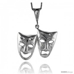Sterling Silver Large Drama Mask Pendant, 1 in Tall