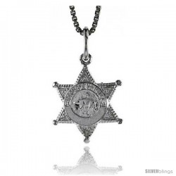 Sterling Silver Sherriff's Badge Pendant, 1/2 in Tall