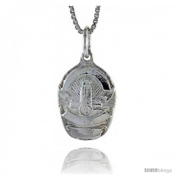 Sterling Silver Los Angeles Police Badge Pendant, 5/8 in Tall