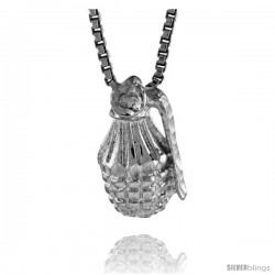 Sterling Silver Small Hand Grenade Pendant, 1/2 in Tall