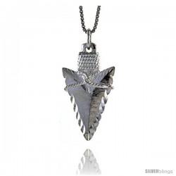 Sterling Silver Arrowhead Pendant, 1 1/4 in Tall