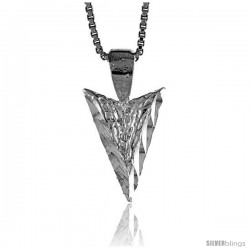 Sterling Silver Tiny Arrowhead Pendant, 5/8 in Tall