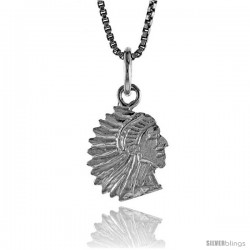Sterling Silver Indian Chief Pendant, 1/2 in Tall