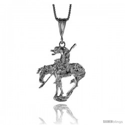 Sterling Silver Large End of the Trail Pendant, 1 1/8 in Tall