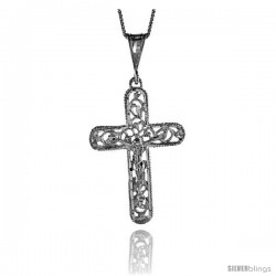 Sterling Silver Filigree Crucifix Pendant, 1 3/4 in