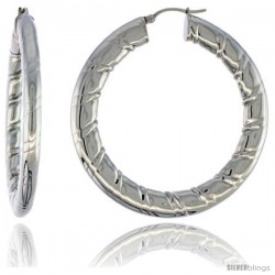 Surgical Steel Flat Tube Hoop Earrings 2 in Round 4 mm wide Candy Stripe Pattern, feather weight