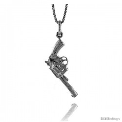 Sterling Silver Gun Pendant, 1 1/16 in Tall