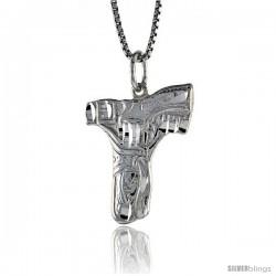 Sterling Silver Gun Pendant, 7/8 in tall