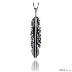 Sterling Silver Large Feather Pendant, 2 3/8 in Tall