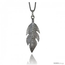 Sterling Silver Feather Pendant, 1 1/4 in Tall