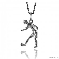 Sterling Silver Soccer Player Pendant, 3/4 in Tall