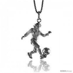 Sterling Silver Woman Soccer Player Pendant, 1 1/16 in Tall