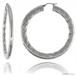 Surgical Steel Flat Tube Hoop Earrings 2 1/2 in Round 4 mm wide Candy Stripe Pattern, feather weight