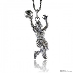 Sterling Silver Woman Basketball Player Pendant, 1 1/2 in Tall