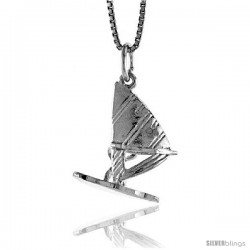 Sterling Silver Sail Board Pendant, 7/8 in Tall