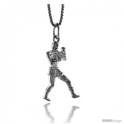 Sterling Silver Boxer Pendant, 1 in Tall