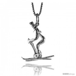 Sterling Silver Skier Pendant, 1 in Tall