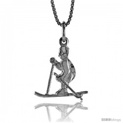 Sterling Silver Skier Pendant, 3/4 in Tall