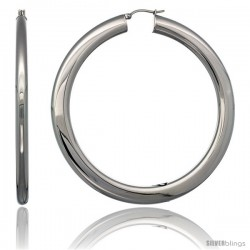 Surgical Steel 3 in Hoop Earrings Mirror Finish 7 mm Fat Flat tube, feather weigh