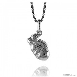 Sterling Silver Small 3-D Boxing Glove Pendant, 1/2 in Tall