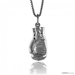 Sterling Silver Boxing Glove (hollow back) Pendant, 7/8 in Tall