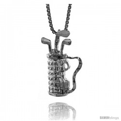 Sterling Silver Golf Bag Pendant, 7/8 in Tall.