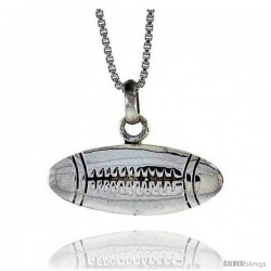 Sterling Silver Football Pendant, 3/8 in Tall