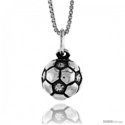 Sterling Silver Soccer Ball (hollow back) Pendant, 1/2 in Tall