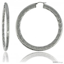 Surgical Steel Flat Tube Hoop Earrings 3 in Round 4 mm wide Candy Stripe Pattern, feather weight