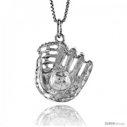 Sterling Silver Baseball and Glove Pendant, 7/8 in Tall