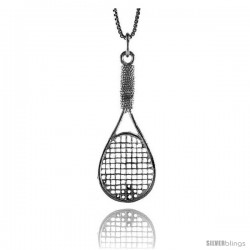 Sterling Silver Tennis Racket Pendant, 1 5/8 in Tall