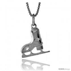 Sterling Silver Men's Ice Skate Shoe Pendant, 5/8 in Tall