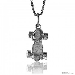 Sterling Silver Roller Skates Pendant, 5/8 in Tall