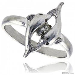 Sterling Silver Double Dolphin Ring Polished finish 11/16 in wide -Style Ffr500