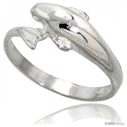 Sterling Silver Dolphin Ring Polished finish 3/8 in wide