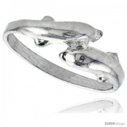 Sterling Silver Double Dolphin Ring Polished finish 1/4 in wide