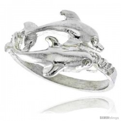 Sterling Silver Double Dolphin Ring Polished finish 1/2 in wide -Style Ffr503