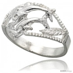 Sterling Silver Double Dolphin Ring Polished finish 1/2 in wide -Style Ffr504