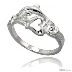Sterling Silver Dolphin w/ Heart Ring Polished finish 3/8 in wide