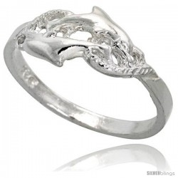 Sterling Silver Double Dolphin Ring Polished finish 5/16 in wide