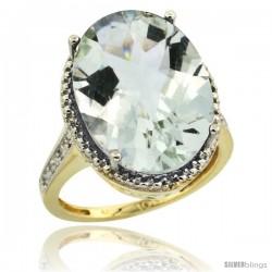 10k Yellow Gold Diamond Green-Amethyst Ring 13.56 Carat Oval Shape 18x13 mm, 3/4 in (20mm) wide