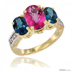 10K Yellow Gold Ladies 3-Stone Oval Natural Pink Topaz Ring with London Blue Topaz Sides Diamond Accent