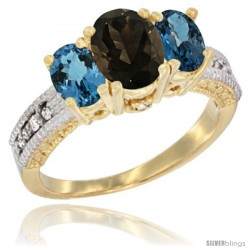 10K Yellow Gold Ladies Oval Natural Smoky Topaz 3-Stone Ring with London Blue Topaz Sides Diamond Accent