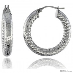 Surgical Steel Tube Hoop Earrings 1 /4 in Round 5 mm Thick Tight Zigzag Pattern, feather weight